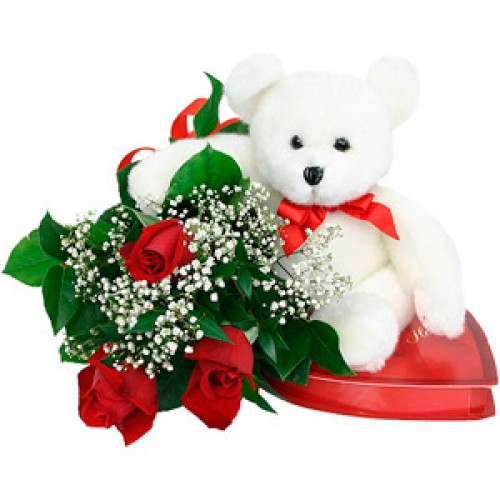 Bouquet with red roses plus teddy bear and chocolates.